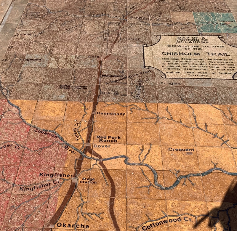 Chisholm Trail Map Sidewalk Mural - Red Carpet Country on